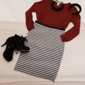 Striped Ponte-Knit Stretch Pencil Skirt (WINNERS)